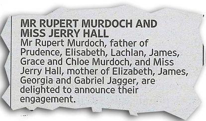 El anuncio del compromiso en 'The Times'.
