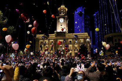 Celebraciones de año nuevo en Wuhan, donde se produjeron los primeros casos de covid-19.