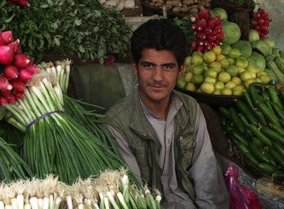 Un comerciante en su puesto en el mercado de las verduras.