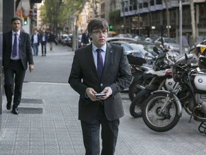 Llegada del presidente de la Generalitat, Carles Puigdemont, a Catalunya Ràdio.