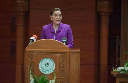 La princesa Lalla Hasna en la séptima Conferencia islámica de Ministros de ministros islámicos de Medio Ambiente celebrada en Rabat en 2017.