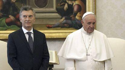 El Papa Francisco y Mauricio Macri durante el encuentro de febrero.