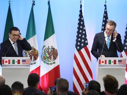 Ildefonso Guajardo, titular de Economía de México, y Robert Lighthizer, representante de Comercio Exterior de EE UU.
