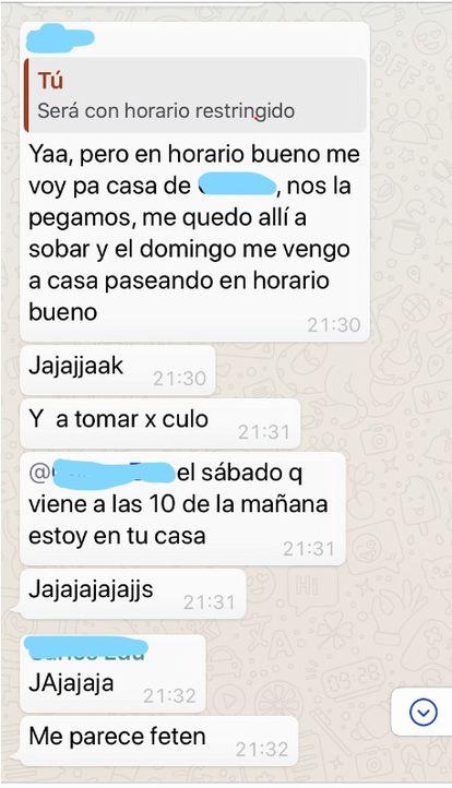 Conversación del grupo de WhatsApp de Roberto.