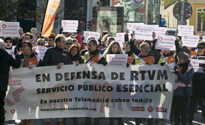 Manifestación de trabajadores de Telemadrid.