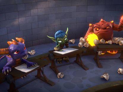 Spyro, Stealth Elf y Eruptor ante un examen sorpresa.