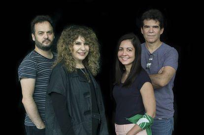 De izquierda a derecha Juan Cárdenas, Gioconda Belli, Liliana Colanzi y Edmundo Paz Soldán, la semana pasada en San José de Costa Rica.