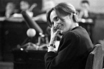 """Pilar Miró, durante una sesión del juicio por """"presunta utilización de fondos públicos"""", del que fue absuelta, el 6 de julio de 1992."""