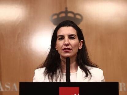 La portavoz de Vox, Rocío Monasterio, durante una comparecencia en la Asamblea de Madrid el 10 de marzo.