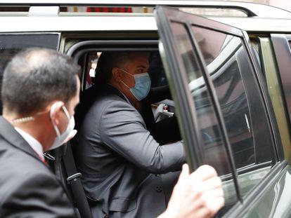 El presidente de Colombia, Iván Duque, llega para la ceremonia de Investidura de Pedro Castillo en Perú, el 28 de julio.