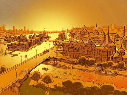 Ilustración presentada al concurso de diseño urbano de ONU Habitat.