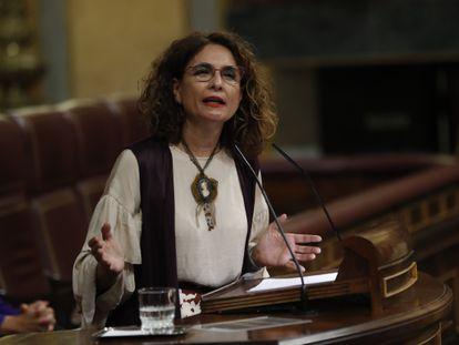 La ministra de Hacienda, Maria Jesús Montero, el miércoles en el Congreso.