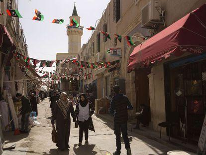 Una calle en la ciudad vieja de Trípoli, el domingo.