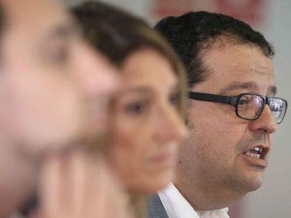 El líder de Avancem, Joan Ignasi Elena, esta mañana en rueda de prensa.