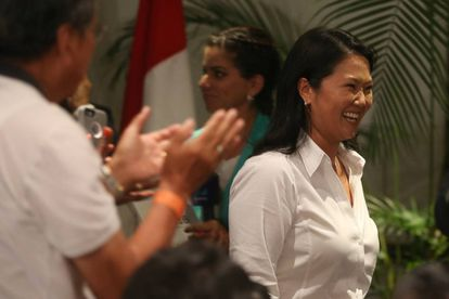 Keiko Fujimori el día de la primera vuelta electoral.