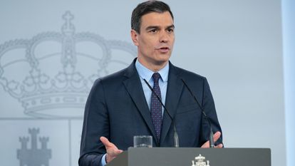 Pedro Sánchez, en una comparecencia en La Moncloa.