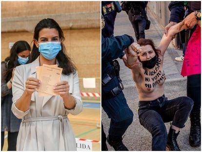 La candidata de Vox a la Presidencia de la Comunidad de Madrid, Rocío Monasterio, muestra su papeleta de Vox antes de ejercer su derecho a voto. A la derecha, la Policía detiene a una activista de Femen  durante su protesta ante el colegio electoral de Monasterio.