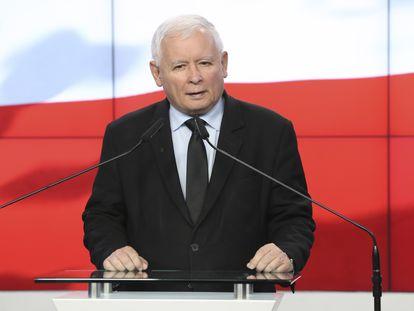 El líder ultraconservador del partido Ley y Justicia, Jaroslaw Kaczynski, en Varsovia el pasado 26 de septiembre.