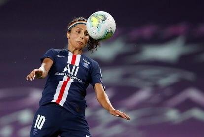 Nadia Nadim, en un partido de la Champions League.