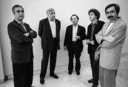 De izquierda a derecha, Juan José Millás, Eduardo Haro Tecglen, Javier Marías, Manuel Rivas y Antonio Muñoz Molina en 1996.