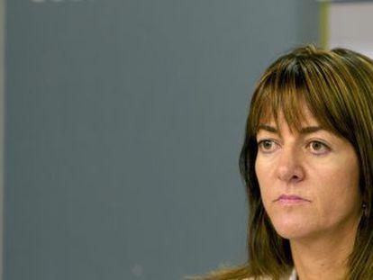 La portavoz del Gobierno vasco, Idoia Mendia, durante la rueda de prensa celebrada ayer en Vitoria.
