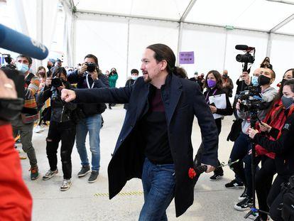 El candidato de Unidas Podemos, Pablo Iglesias, en un acto de campaña celebrado en Collado Villalba.