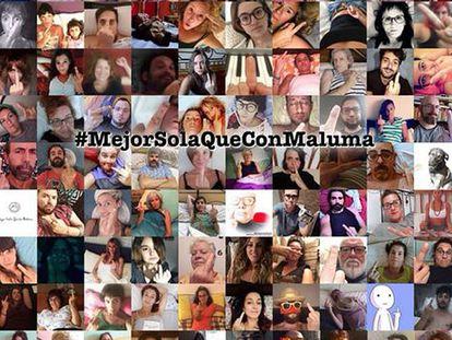 Imagen de la campaña #MejorSolaQueConMaluma contra la música machista del cantante Maluma.