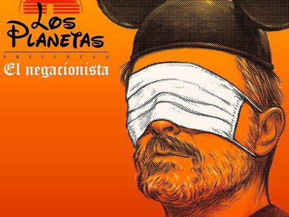 Portada de 'El negacionista', con una imagen de Miguel Bosé. El diseño es de Javier Aramburu.