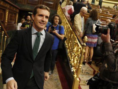Pablo Casado, líder del PP, en el Congreso.