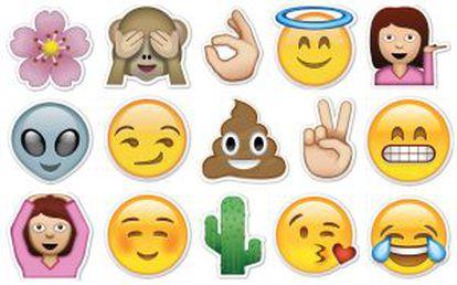 Panel de emoticonos empleados en WhatsApp.