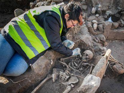 Un arqueólogo excava una de las tumbas visigodas descubiertas.