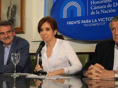 Cristina Fernández de Kirchner, en rueda de prensa en el Congreso argentino este jueves.