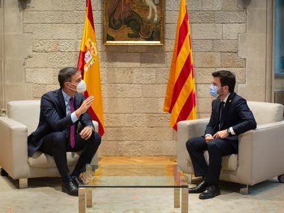 Pedro Sánchez y Pere Aragonès en el Palau de la Generalitat, esta semana.
