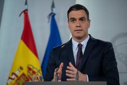 Pedro Sánchez, en su última comparecencia en La Moncloa.