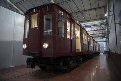 Unidad restaurada para exposición del centenario del Metro de Madrid.