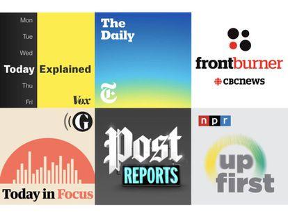 Algunas de las portadas de los principales 'podcasts' diarios del ámbito anglosajón.