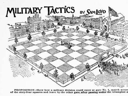 Ilustración original de un acertijo ajedrecístico de Sam Loyd.