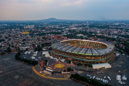 An aerial view of the Azteca stadium, in Mexico City, in 2021.