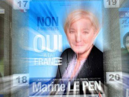 Póster electoral del partido de Le Pen, el Frente Nacional, que ganó las europeas en Francia.