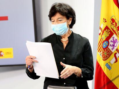 La ministra de Educación y Formación Profesional, Isabel Celaá, la semana pasada.