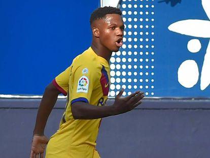 Ansu Fati celebra el 1-1 ante Osasuna. En vídeo, declaraciones de Ernesto Valverde.