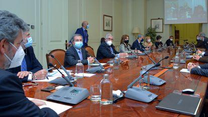 El presidente del Consejo General del Poder Judicial, Carlos Lesmes preside un pleno extraordinario, en Madrid eL 28 de octubre de 2020.