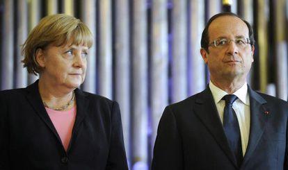 El presidente Hollande y la canciller Merkel, en Reims.