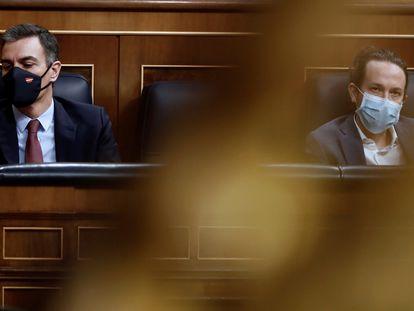 Sánchez e Iglesias, en el Congreso de los Diputados a finales de octubre.