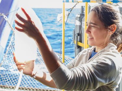 Una investigadora del Instituto Español de Oceanografía durante una campaña de investigación, en una foto de archivo.