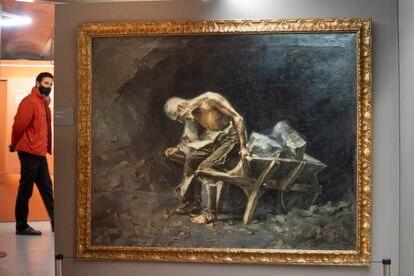 'El peón', de Aleix Clapés, el enigmático pintor de Güell y Gaudí, que ha sido localizada en Barcelona después de creerse que estaba en Moscú.