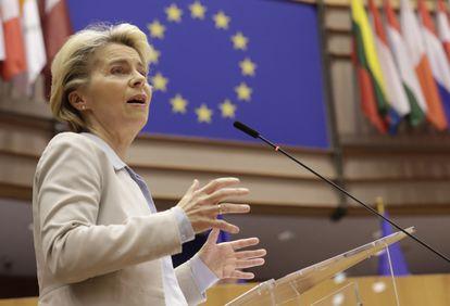 La presidenta de la Comisión Europea, Ursula von der Leyen, este miércoles en Bruselas.