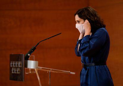 La presidenta Díaz Ayuso, durante la comparecencia de este jueves.