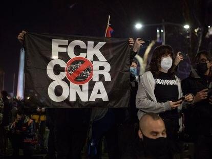 Protestas en el centro de Barcelona por el encarcelamiento del rapero Pablo Hasél, el17 de febrero de 2021.