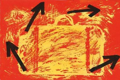 Obra de Viladecans para ilustrar el exilio dentro del libro editado por Base sobre la Historia de Cataluña.